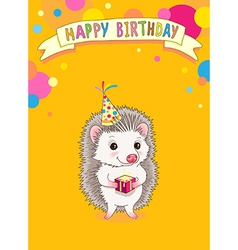 Hedgehog happy birhday vector image vector image