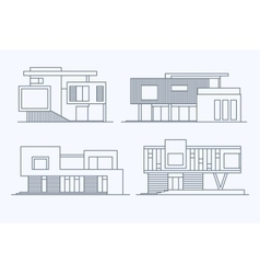Houses linear 9 vector image vector image