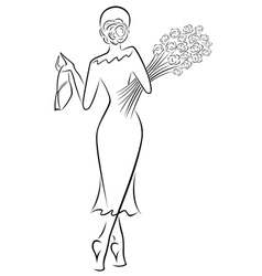 Lady with a bouquet of roses goes away vector