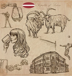 Latvia Freehand Hand drawn collection Line art vector image vector image