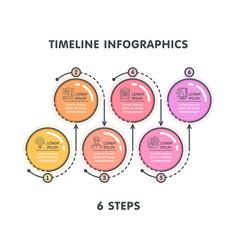 Modern 6 steps timeline infographic template vector