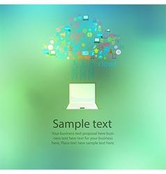 Notebook computer social network web icon vector