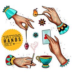 Oldschool tattoo hands set vector