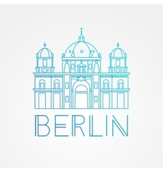one line minimalist icon of German Berlin vector image