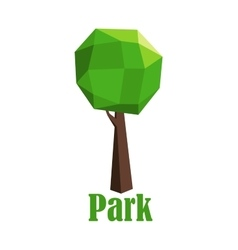Park icon with polygonal green tree vector image vector image
