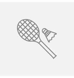 Shuttlecock and badminton racket line icon vector image vector image
