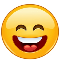 smiling emoticon with open mouth and smiling eyes vector image