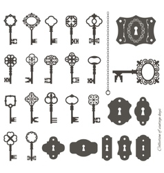 Vintage keys and keyholes big set vector