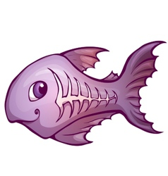 x-ray fish in cartoon style vector image