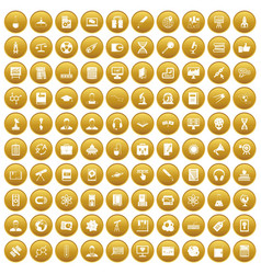 100 researcher science icons set gold vector