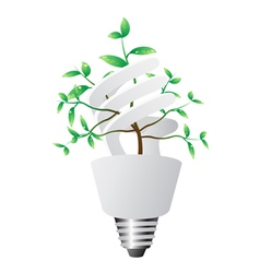 Energy saving lightbulb with green plant vector