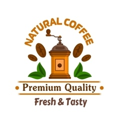Cafe emblem retro coffee mill label vector