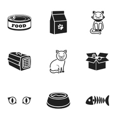 Cat equipment set icons in black style big vector