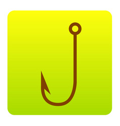 fishing hook sign   brown icon vector image