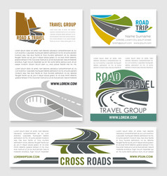 Road travel banner template set for tourism design vector