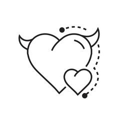 Line icon style heart devil color vector