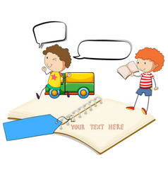 Blank notebook with two boys reading vector