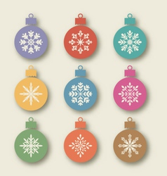 Set Christmas balls with different snowflakes vector image