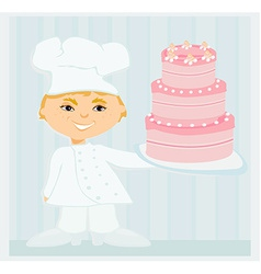 Sweet chef with cake vector