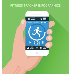 Fitness app on mobile phone in hand vector