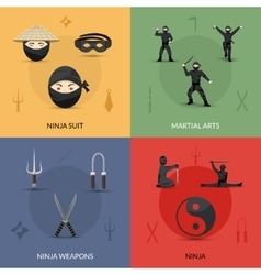 Ninja icons set vector