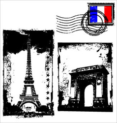 Paris in grunge frame vector