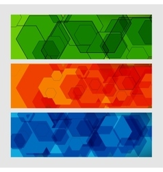 Set abstract modern pattern of hexagons circuits vector