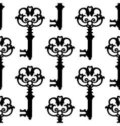 Vintage black keys seamless pattern vector