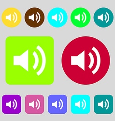 Speaker volume sign icon sound symbol 12 colored vector