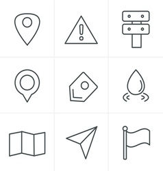 Line icons style map icons on white background gps vector