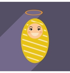 Flat icon with long shadow newborn jesus vector
