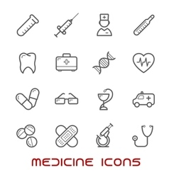 Medicine and health thin line icons set vector