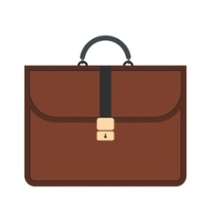 Brown business briefcase flat icon vector