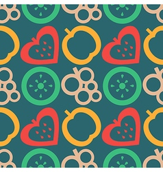 Pattern with colorful closeup fruits berries vector