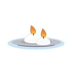 Burning wax candle in a stand flat vector