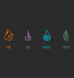 abstract four elements line symbols vector image