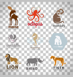 animals flat style logos set vector image vector image