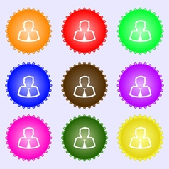 Avatar icon sign A set of nine different colored vector image