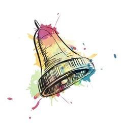 Bell ring watercolor sketch vector