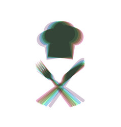 Chef with knife and fork sign colorful vector