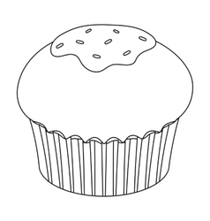 Chocolate cupcake icon in outline style isolated vector image