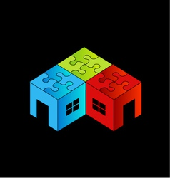 Colorful logo for real estate market with a puzzl vector