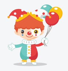 Cute clown with balloon vector