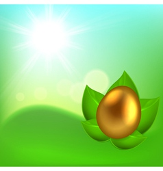 Easter background with egg in leaves vector image