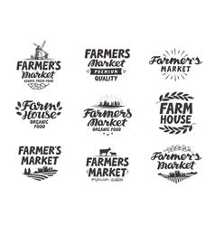 Farmers market logo farm farming icons vector