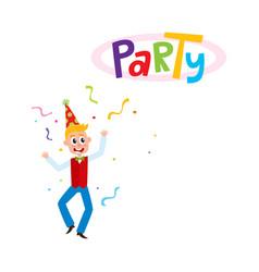 flat man dancing in party hat vector image vector image