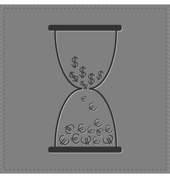 Grey hourglass with dollar and euro money signs vector