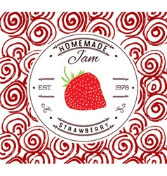 Jam label design template for strawberry dessert vector