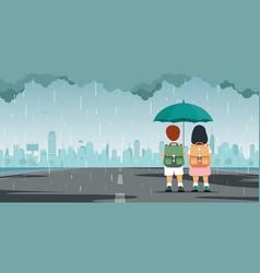 kid with umbrella vector image