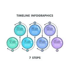 modern 7 steps timeline infographic template vector image